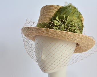 791 - XL - Straw Top Hat Veiling