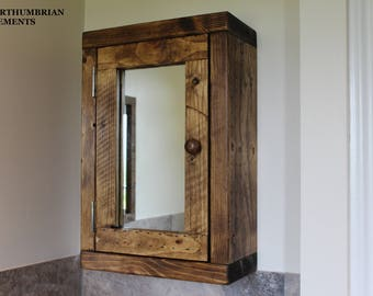 Rustic Handcrafted Reclaimed Chunky Wooden Bathroom Cabinet / Cupboard In  Walnut Or Oak Wax