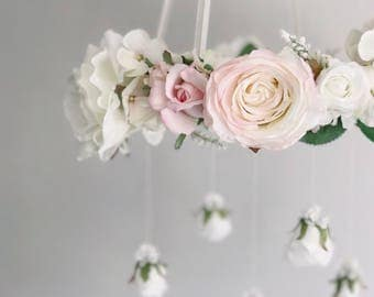 A touch of pink floral chandelier, pink flower mobile, baby girl mobile, pink nursery mobile, crib mobile, pink baby mobile