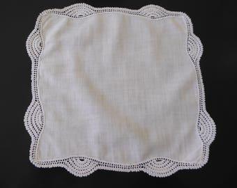 Vintage small white handkerchief with crochet edge #122