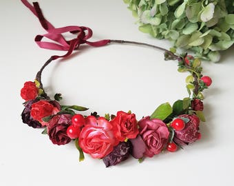 Burgundy red greenery bridal flower crown Burgundy boho floral crown Bridal hair wreath Wedding flower crown Flower halo Maternity crown
