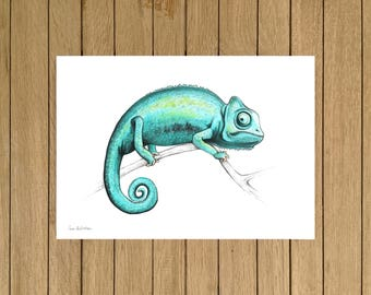 Turquoise Chameleon, Watercolor Illustration, Giclée Print, A3 A4 & A5 size
