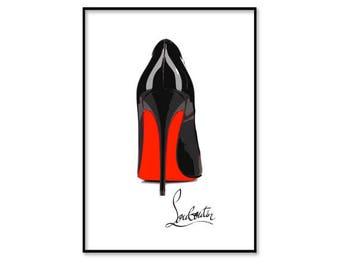 Christian Louboutin shoes, Christian Louboutin heels, fashion wall art, fashion illustration print, digital download art, printable, instant