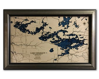 Lake Vermilion Dimensional Wood Carved Depth Contour Map - Customize With Your Home Information