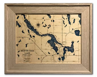 Beaver Dam Lake Dimensional Wood Carved Depth Contour Map - Customize With Your Home Information