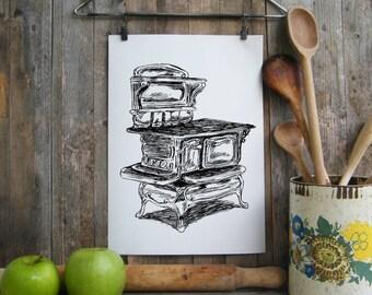 Kitchen Decor, Antique Stove Print, Rustic Wall Art, Retro style Art, Country Home Decor, Farmhouse decor, Black And White Printable