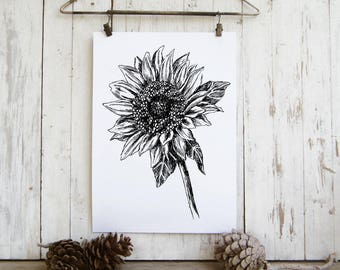 Sunflower print, Spring decor, Flower illustration, Printable poster, Hostess gift, Instant download