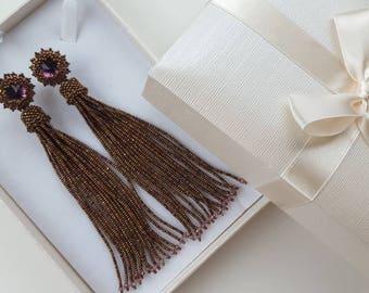 Gold Copper Tassel Earrings Beaded Tassel Earrings Stud Tassel Earrings Swarovski Earrings with tassel Swarovski Crystal Earrings