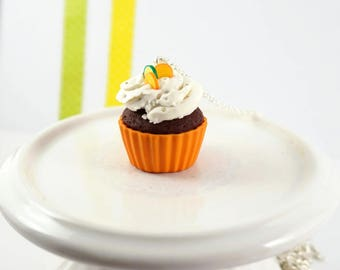 Orange Cupcake necklace with its chantilly - polymer clay