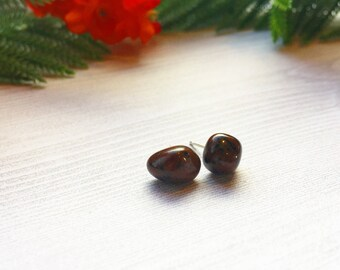 Mahogany Obsidian Earrings >> Small Stud Earrings >> Natural Stone Jewelry >> Southwestern Earrings >> Red Obsidian >> Gifts For Her >> Boho