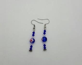 Blue and pink flower earrings (ER047)