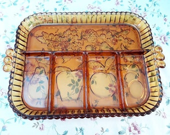 Vintage Indiana Amber glass 5 part relish tray