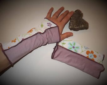 "Fingerless gloves arm warmers purple Jersey and ""Spring"" flowers"