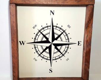 wood sign, compass sign, rustic sign, farmhouse sign, compass decor, framed wood sign, man cave decor, man cave, gifts for men, office decor