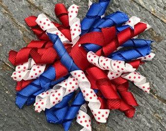 Hair Clip Korker Ribbon Headband Bow Red White Blue Americana