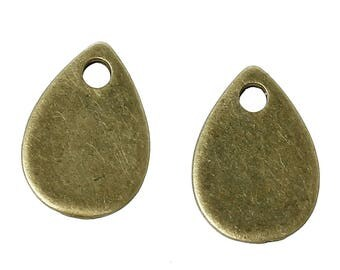 5 pendants sequins pendants drop 11 X 8 mm bronze