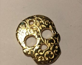 5cm gold plated skull pendant