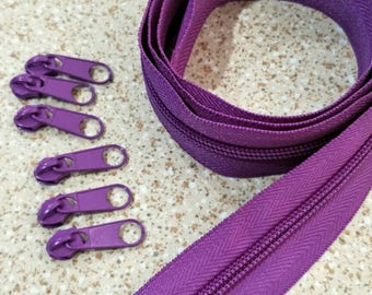 3 Yards  Zipper #5 with Free 6 Pulls, Violet Zipper by the Yard, Zipper # 5, Zipper by the Yard, Bags Accessories.
