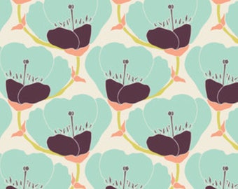 Nesting Blooms in Warm fabric - Winged collection by Bonnie Christine - Art Gallery Fabrics - mint green - flowers