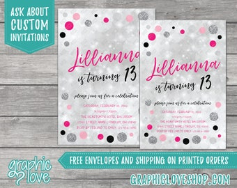 Personalized Pink Black and Silver Sparkle Teen Birthday Invitation | 4x6 or 5x7, Digital File or Printed, FREE US Shipping & Envelopes