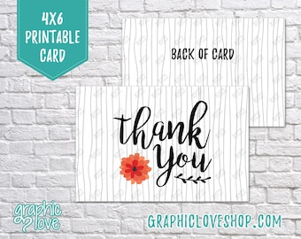 Printable Black and White Flower Thank You Cards   Small Business, Packaging, Thanks   Digital JPG File, Instant Download, Ready to Print