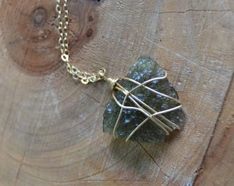 Moldavite Necklace // Gold Fill Chain // Crystal Energy // Transformation // Removes Energetic Blockages // Synchronicity // ET // Starseed