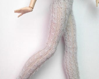Monster High/Ever After high doll clothing, light gray cable-knit long leggings/pants, 100% fine wool