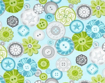 Sewing Room Buttons Aqua Blue Sewing Theme Button Cotton Fabric by Amanda Murphy Contempo Studio by Benartex