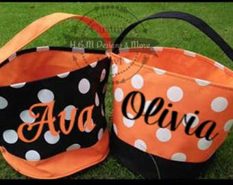 Monogrammed Halloween bag, Halloween bucket, Beach tote, treat or trick bag