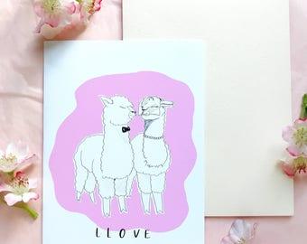 Llama Llove wedding engagement card