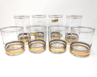 Mid Century Modern Barware, Tumbler Glasses, Culver 22 K Gold, Signed, Culver Highball Glasses, Culver Tumblers