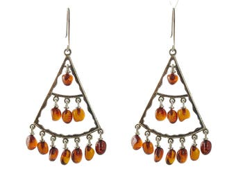 Silver and Dangling Amber Pierced Earrings
