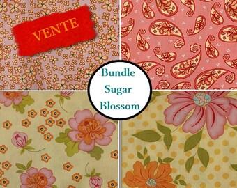 "4 Fats Quarters, 18"" X 22"", Sugar Blossom, Henry Glass, Bundle, 1 of each print"