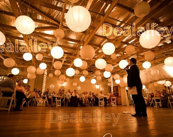 36 Paper Lanterns Led set Mixed Size White Color Round Lamp Shade Floral Wedding Party DIY Crafts Decoration Supplies w/ with LED Lights