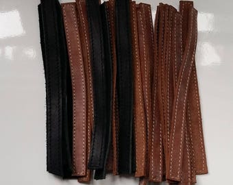 Topstitched leather strip 15cm