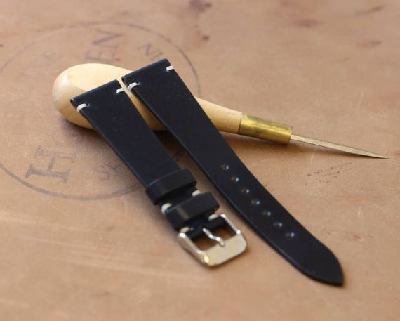20/16mm Navy Blue Horween Shell Cordovan watch band - simple side stitch