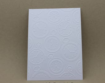 5 embossed cards - embossed clock