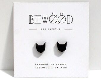 WOODEN black cat ear studs