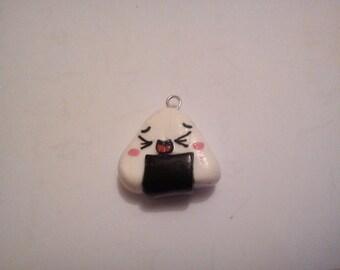 1 polymer clay kawaii white onigiri charm