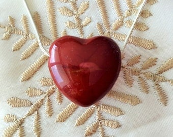 Red Jasper HEART Necklace infused w/ Reiki