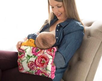 Annabelle Rose Nursie/ Pink Floral/Nursing Arm Pillow/ Breastfeeding Pillow/ Travel Pillow/ Baby Support Pillow/Bottle Feeding Pillow