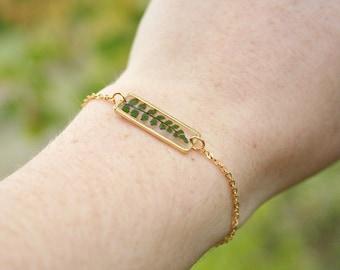 Real fern bracelet Resin bracelet Rectangle shape Gold plated 16K Pressed fern leaf Real leaves bracelet Green gift Gift for her Geometric