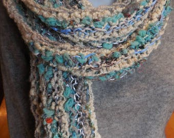 Very long hand knitted scarf