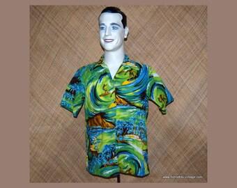 1960's Vintage Men's Surfer Blue Hawaiian Shirt