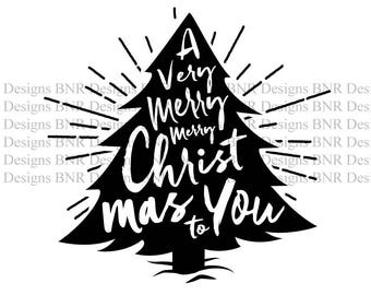 Christmas Tree SVG Cut File, Christmas SVG, Merry Christmas SVG, dxf, Silhouette File, Cameo File, Cricut File