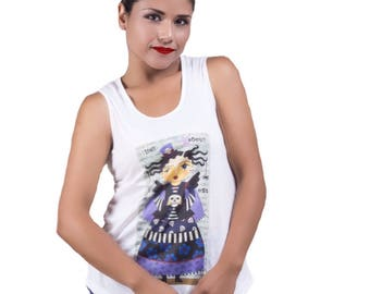 "Tank top ""Angel Gothic steampunk with skulls""-Mexico"
