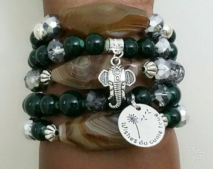 Agate Elephant Forest Green Stretch Woman's Bracelet Set, Birthday gift, boho bracelet