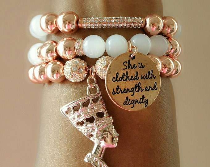 Designer Inspired Rosegold and White Nefertiti Charm Bracelet Set, anniversary gifts, birthday gifts, mother's day gifts