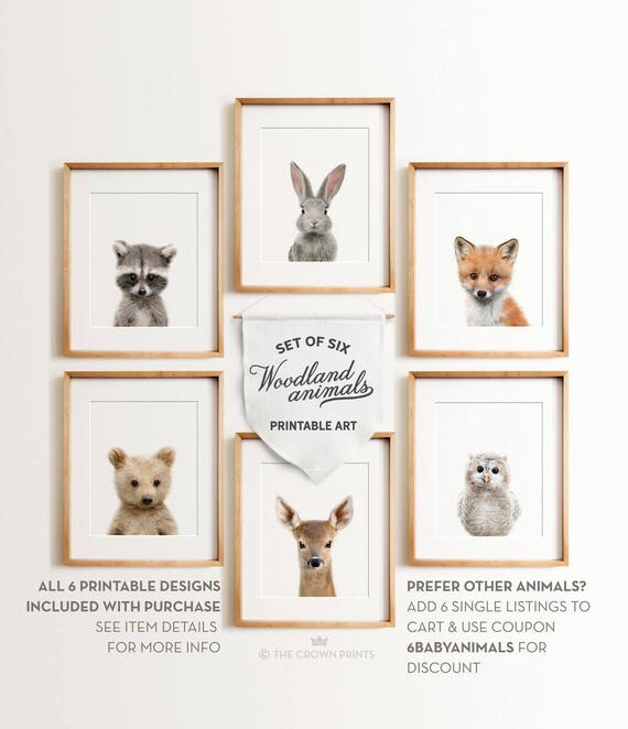 Nursery Animals Prints Printable Art Woodland Animals Decor