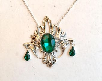 Silver and green art nouveau necklace with Swarovski crystal and fleur-de-lys